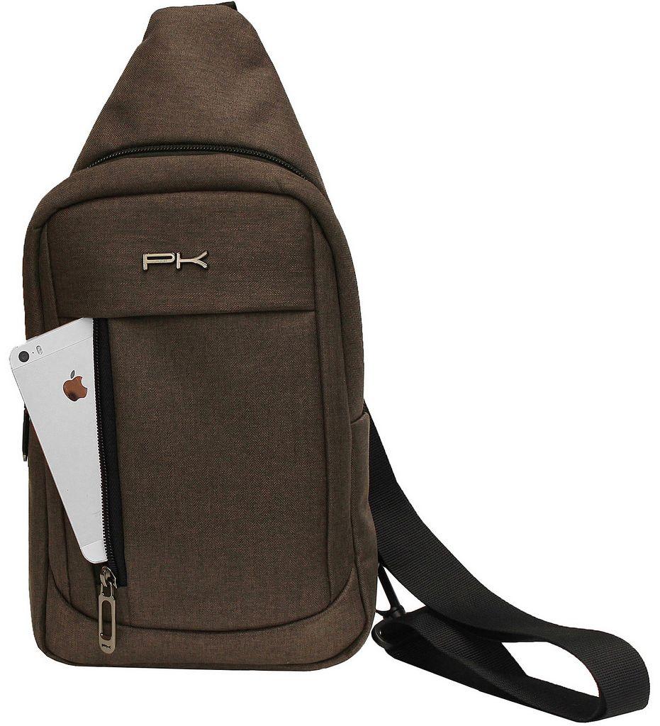 Mini Mochila Transversal Esportiva Impermeável Resistente Masculina Tablet Pequena Marrom Polo King Original