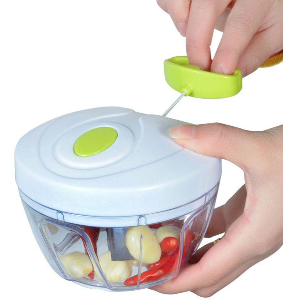Mini Processador De Alimentos Manual 3 Lâminas Triturador Moedor Alho