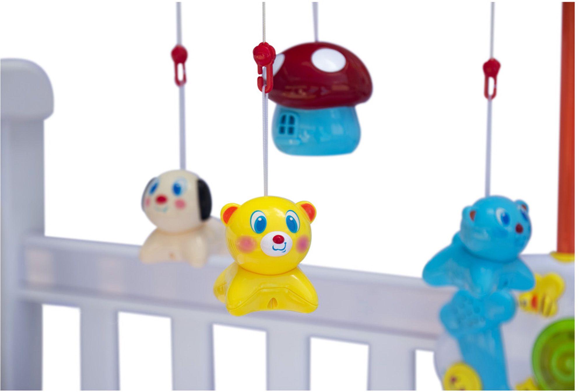 Móbile Musical Divertido Animais Inteligente Bebê Canta 26 Músicas Acende Luz Estimula Coordenação Motora Bolhas De Sabão Zoop Toys Modelo ZP00118
