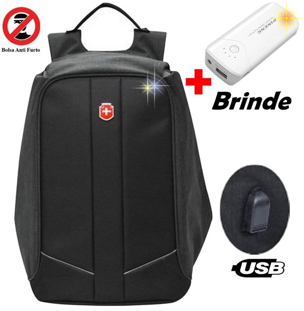 2ca1a4b51dc33 Mochila Anti Furto Roubo Com Usb Impermeável Notebook + Carregador Portátil  - Ditudotem