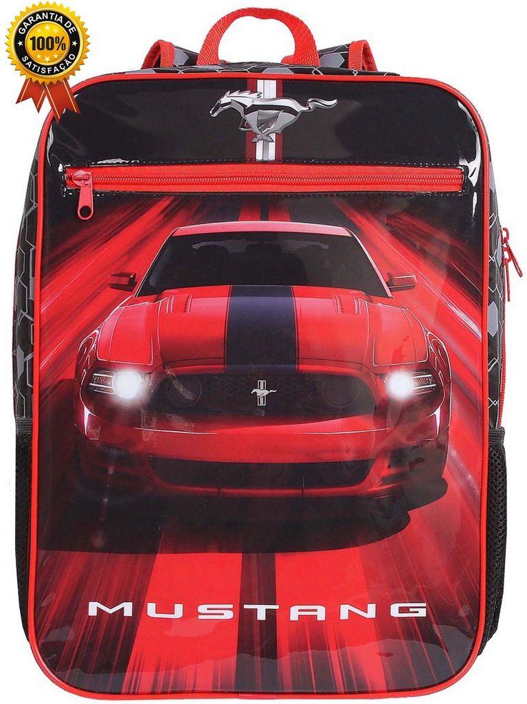 Mochila Bolsa Escolar Infantil Menino Costas Carro Mustang Grande Vermelha Moderna Reforçada Lançamento DMW