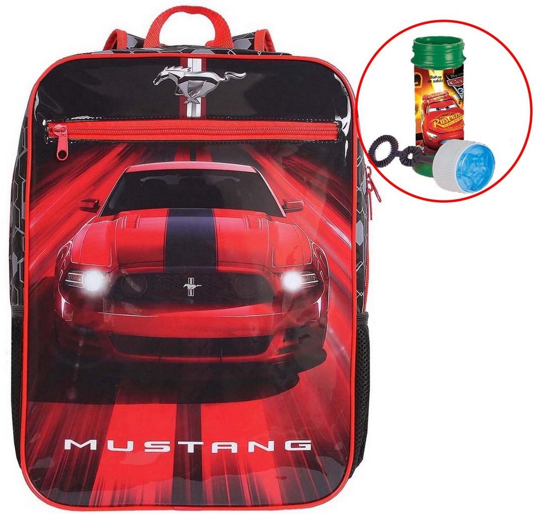 Mochila Bolsa Escolar Infantil Menino Costas Carro Mustang Grande Vermelha Moderna Bolhas De Sabão Reforçada DMW
