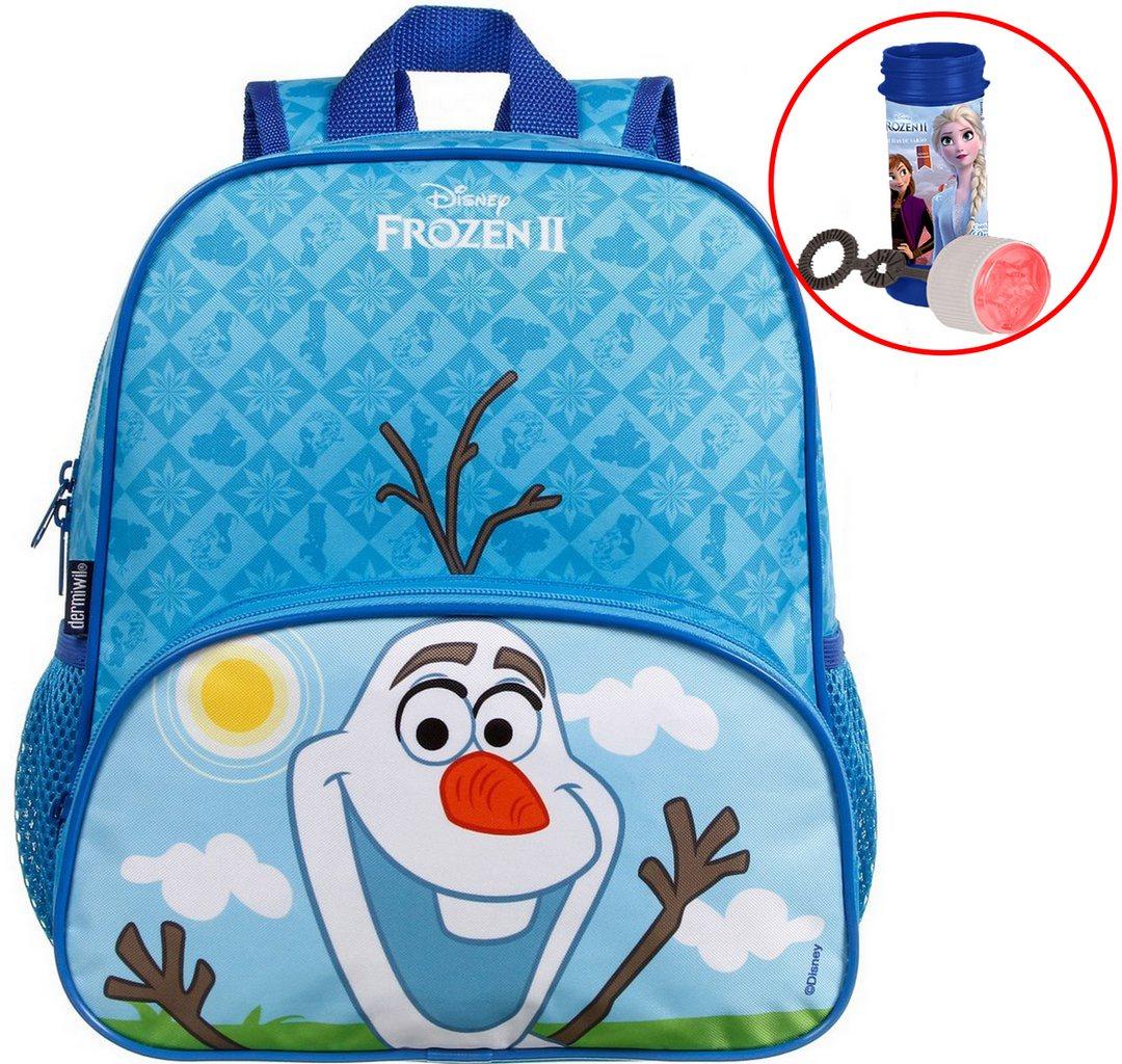 Mochila Bolsa Escolar Infantil Pequena Olaf Frozen 2 Elza Ana Menino Disney Menina Azul Alça De Costa Bolhas De Sabão Dermiwil