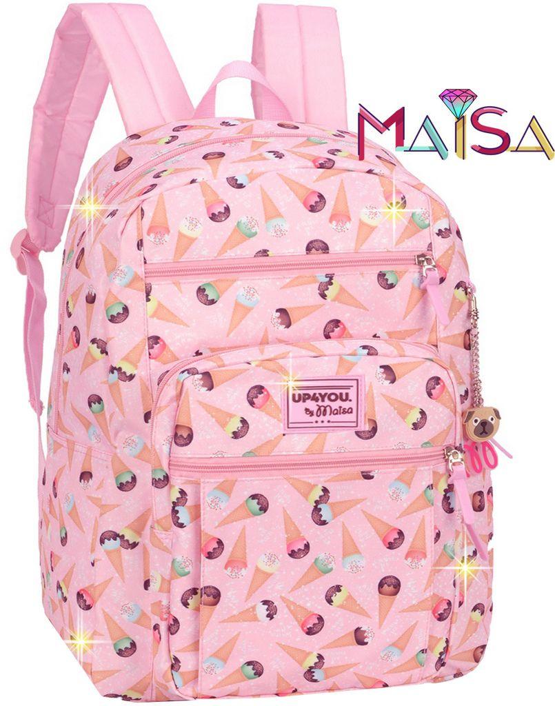 Mochila Bolsa Escolar Notebook Feminina By Maisa Up4you Impermeável Sorvete Grande Juvenil Lançamento Luxcel