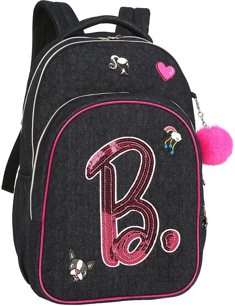 Mochila Bolsa Feminina Escolar Barbie Preta Juvenil Notebook Impermeável Patches Paetê Costas Grande Luxcel
