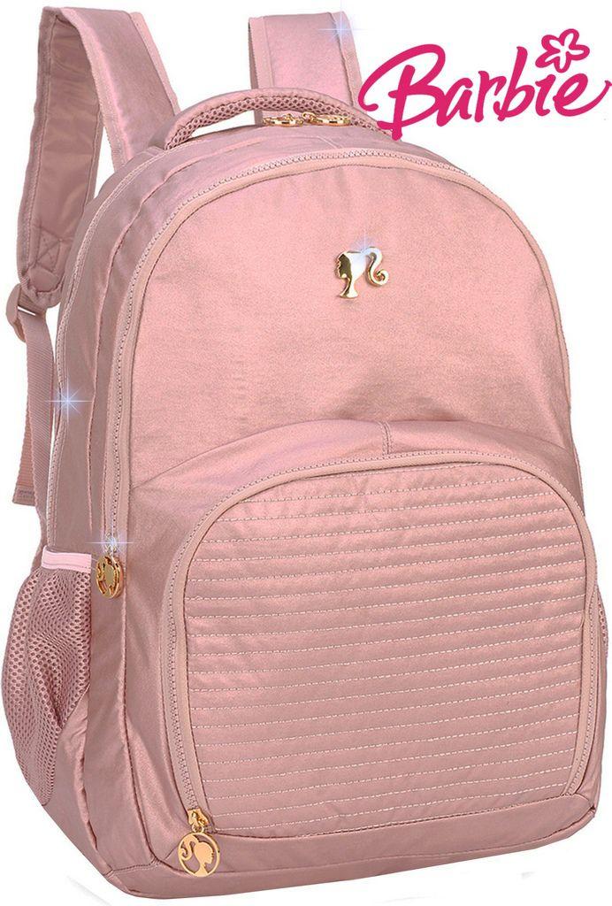 Mochila Bolsa Feminina Escolar Barbie Rosa Notebook Impermeável Juvenil Costas Grande Metalizada Luxcel