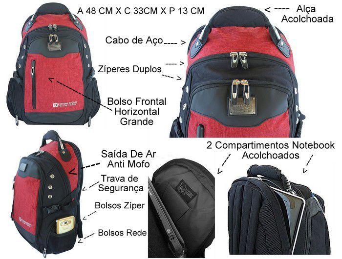Mochila Vermelha Preta Esportiva Acolchoada Cabo de Aço Notebook 15.6