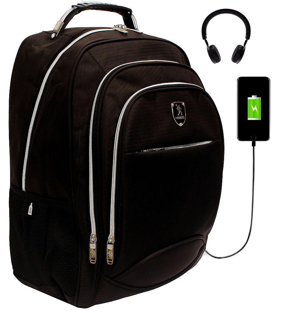 Mochila Masculina Executiva Notebook 15.6 Impermeável Grande Cabo De Aço USB Fone Preta Tablet Encaixe Para Cadeado