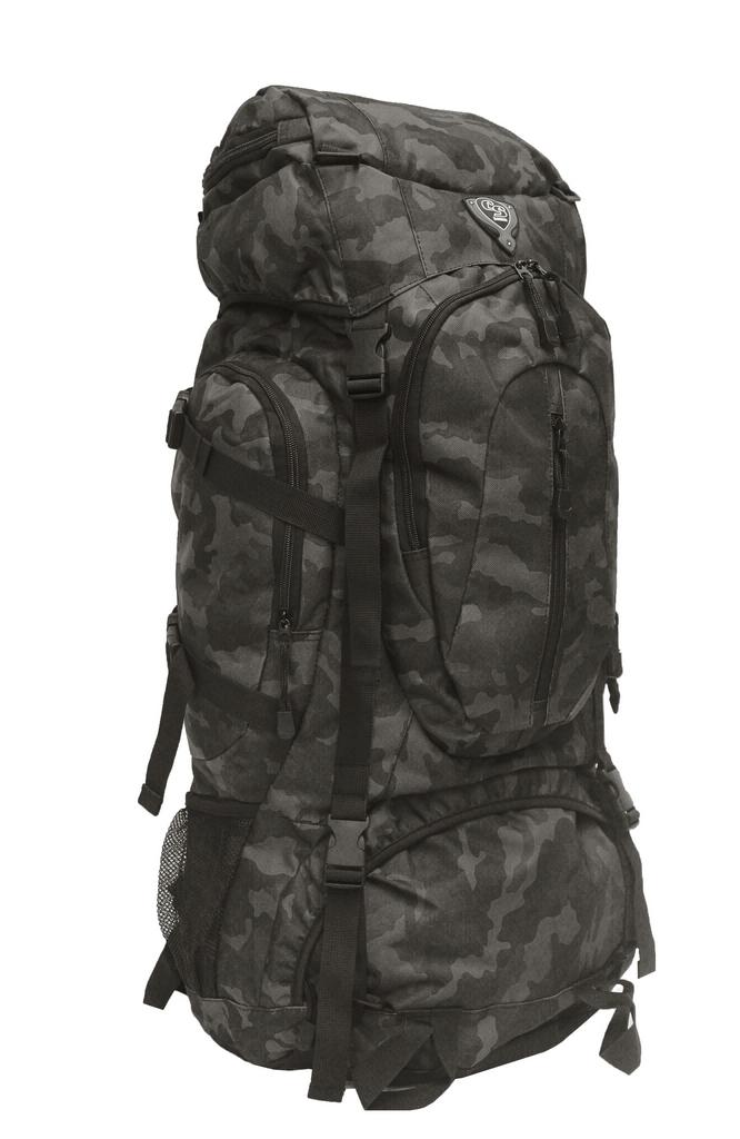 Mochila Camping Masculino Feminino Trilha Camuflada 70 Litos Preta Cinza Grande Alça Costas Reforçada Clio