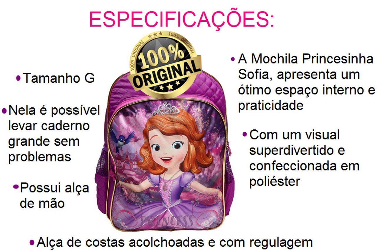 Mochila Costas Princesa Sofia Roxa Grande G Original Infantil Escolar Creche