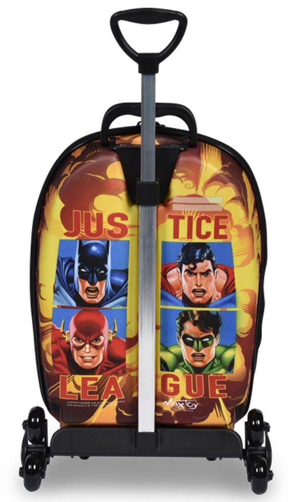 Mochila Escolar Carrinho Rodinha Menino Infantil Liga Da Justiça Batman Maxtoy