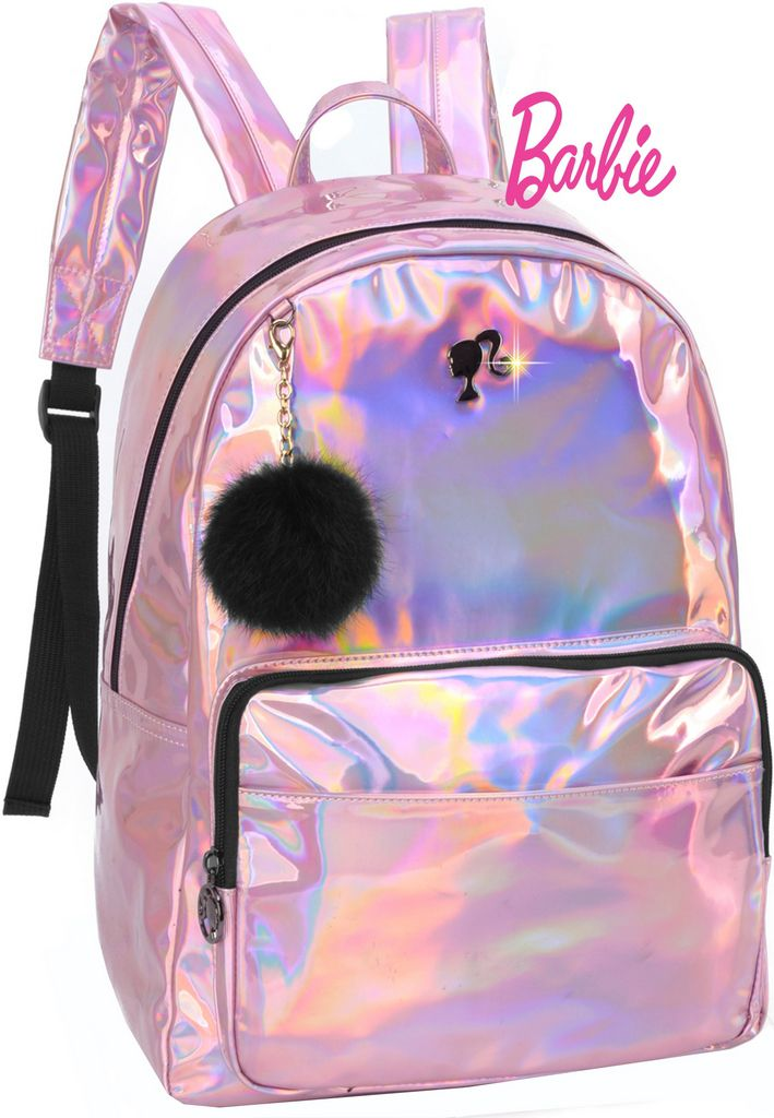 Mochila Escolar Feminina Juvenil Barbie Holográfica Pompom Metálica Costa Grande Impermeável Luxcel