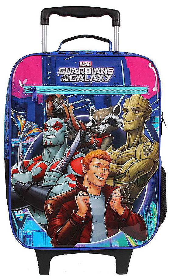 Mochila Escolar Infantil Carrinho Rodinhas Guardiões Da Galáxia Menino DMW