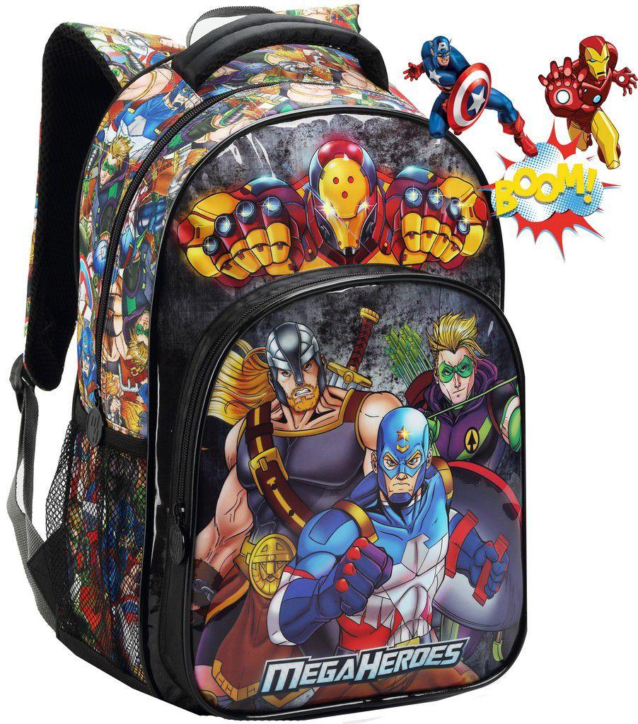 Mochila Escolar Infantil Costa Heroes Grande Masculina Menino Thor Capitão América Homem De Ferro Arqueiro Lançamento Seanite