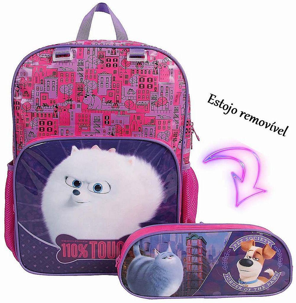 Mochila Escolar Infantil Costas Pets Pratic Menina Resistente Reforçada Dermiwil