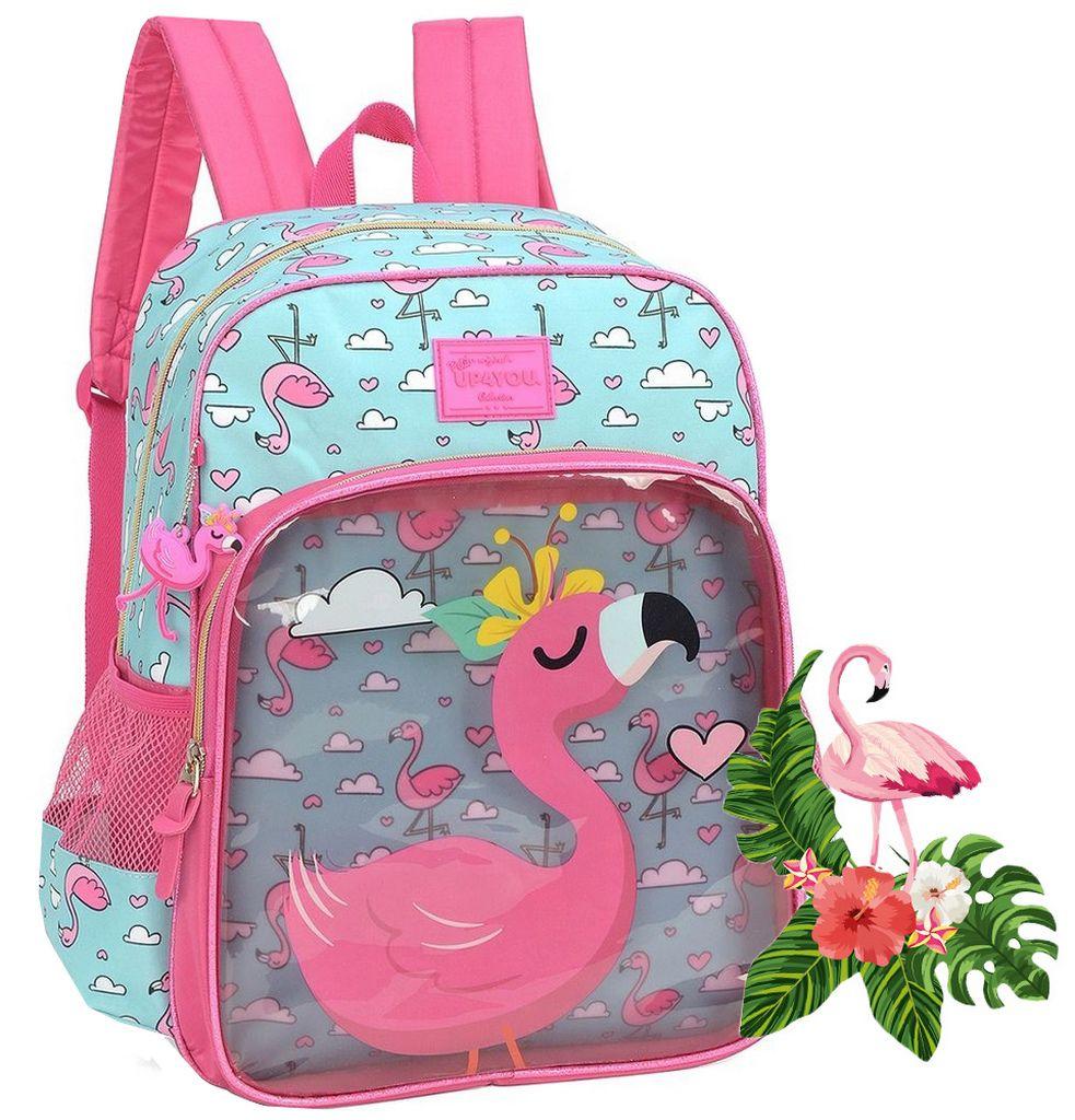 Mochila Escolar Infantil Flamingo Lançamento Menina PVC Transparente Impermeável Zíper Personalizado Poliéster Chaveiro Petit UP4YOU Luxcel