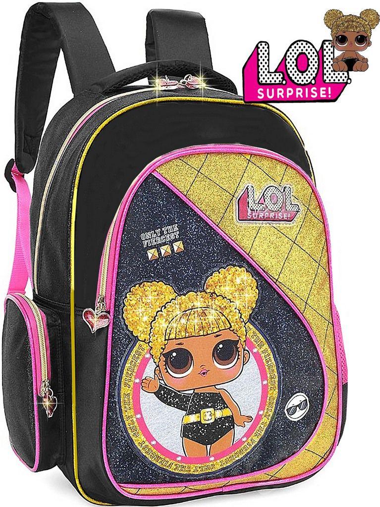 Mochila Escolar Infantil Lol Surprise Rara Preta Dourada Queen Bee Costa Grande Lançamento Menina Luxcel