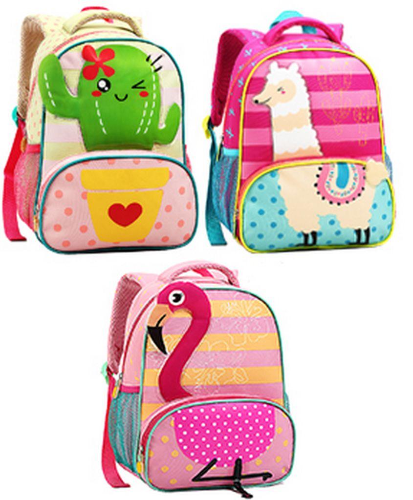 Mochila Escolar Infantil Resistente Menina Flamingo Cacto Lhama Rosa Verde Alça Costas Seanite