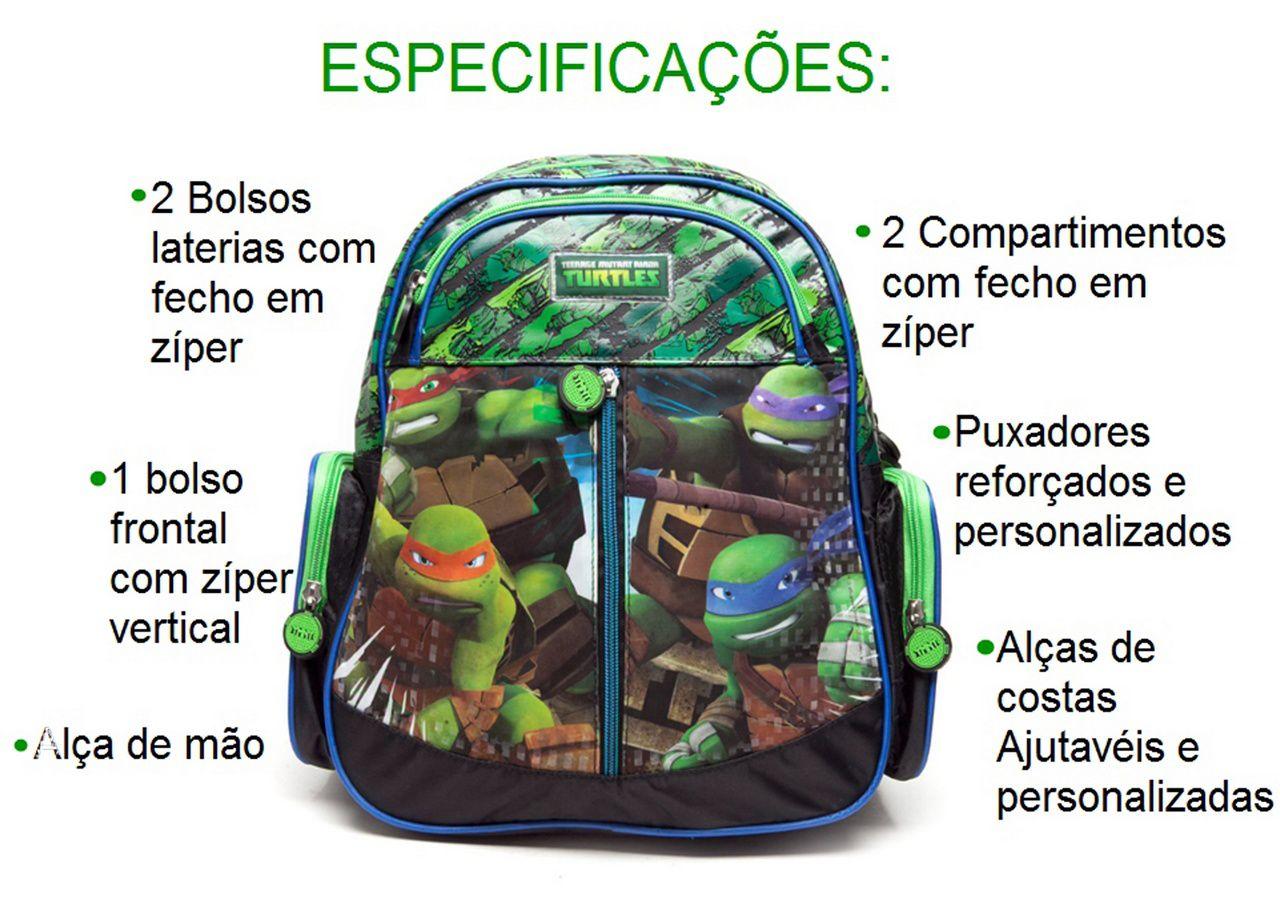 Mochila Escolar  Infantil Tartarugas Ninjas De Costas Tamanho M DMW