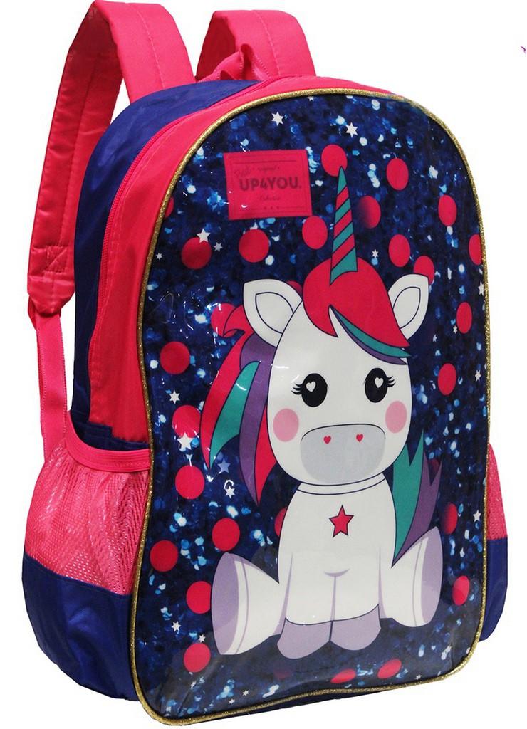 Mochila Escolar Infantil Unicórnio Menina Rosa Azul Costas Grande Impermeável Lançamento UP4YOU Luxcel Modelo Novo