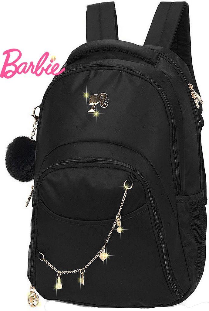 Mochila Escolar Juvenil Notebook Barbie Feminina Costas Impermeável Grande Preta Chaveiro Pompom Macio Pingente Original Luxcel