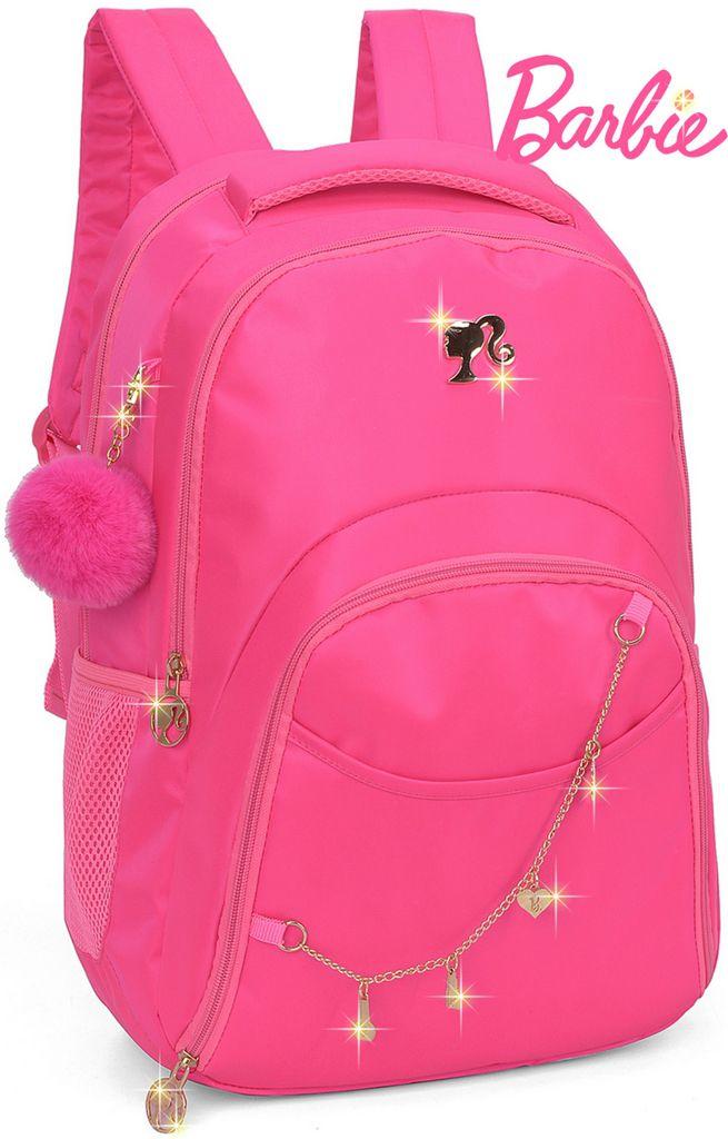 Mochila Escolar Juvenil Notebook Barbie Feminina Costas Impermeável Grande Rosa Chaveiro Pompom Macio Pingente Original Luxcel