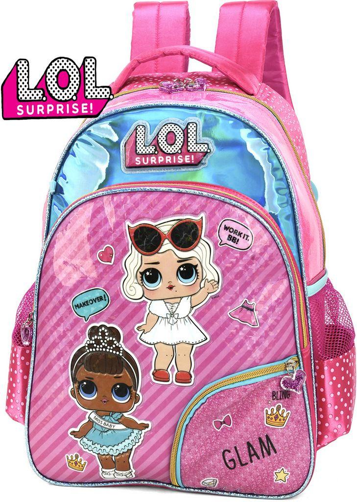 Mochila Escolar Lol Surprise Brilhosa Infantil Rosa Miss Baby Costa Impermeável Lançamento Grande Original Luxcel