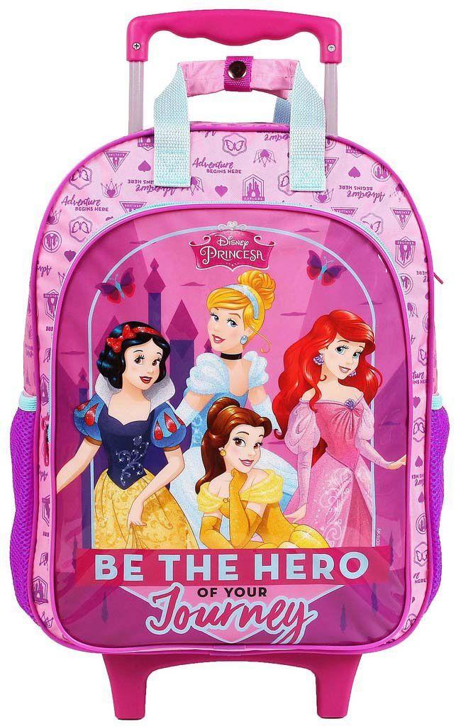 Mochila Escolar Princesas Infantil Menina Rosa Carrinho Rodinhas Resistente Dermiwil