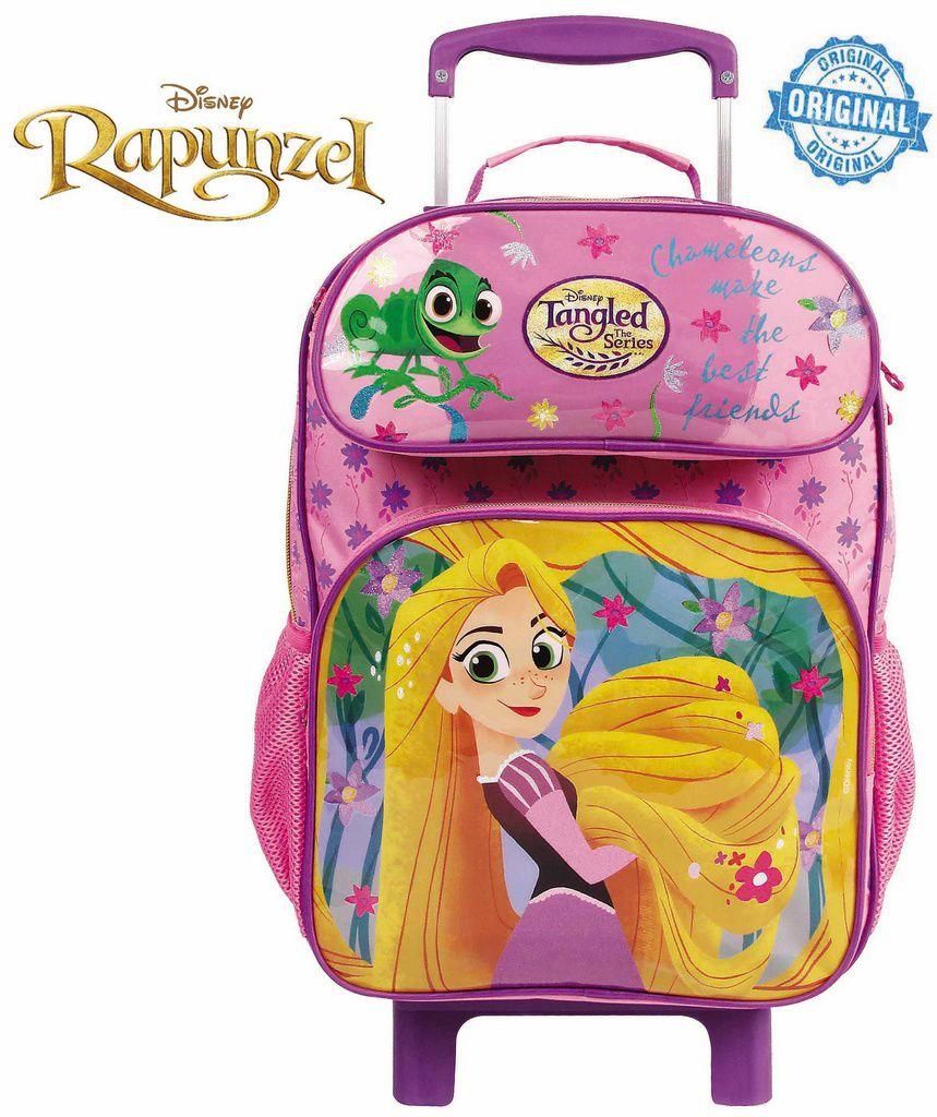 Mochila Escolar Rapunzel Rodinhas Infantil Menina Estojo Dermiwil