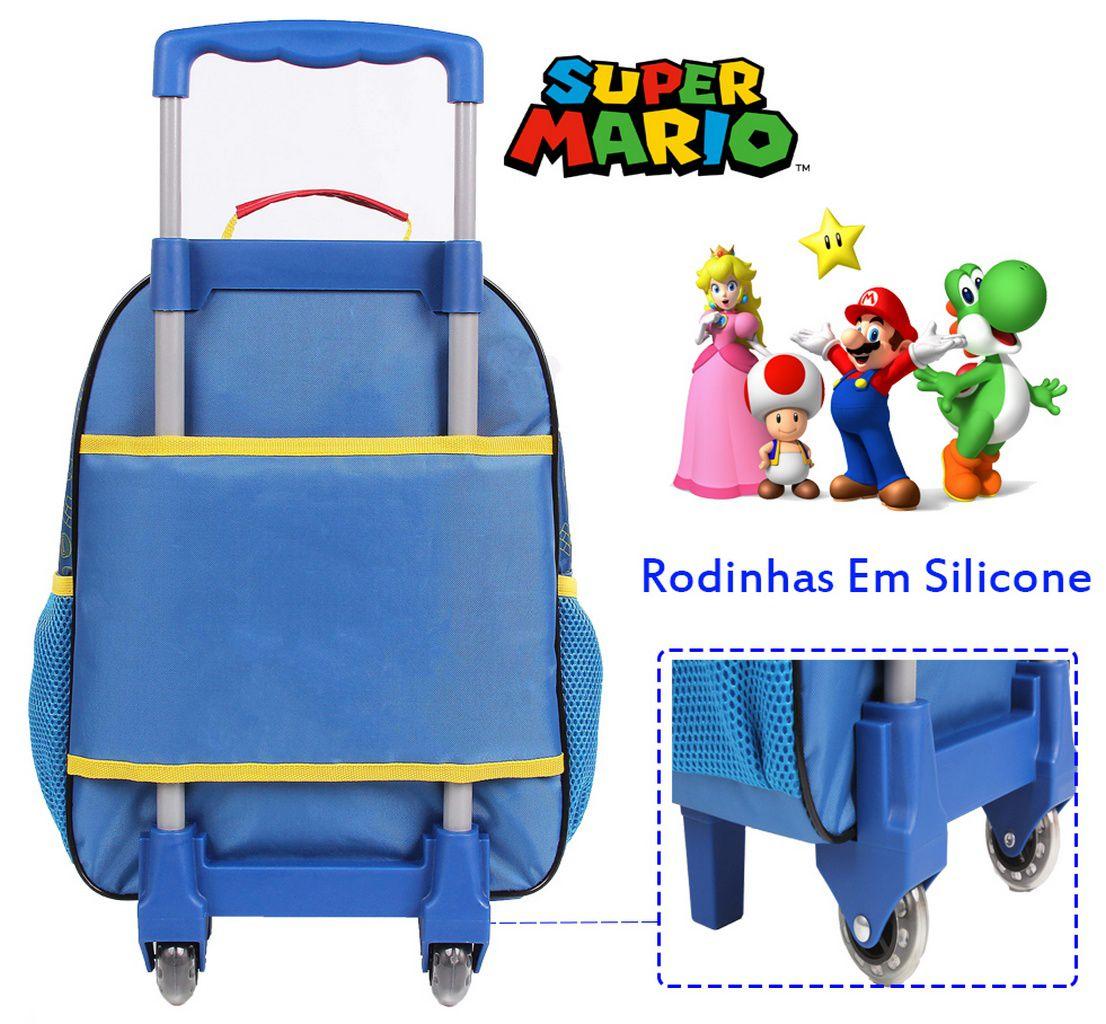 Mochila Escolar Resistente Infantil Rodinhas Super Mario Criança DMW
