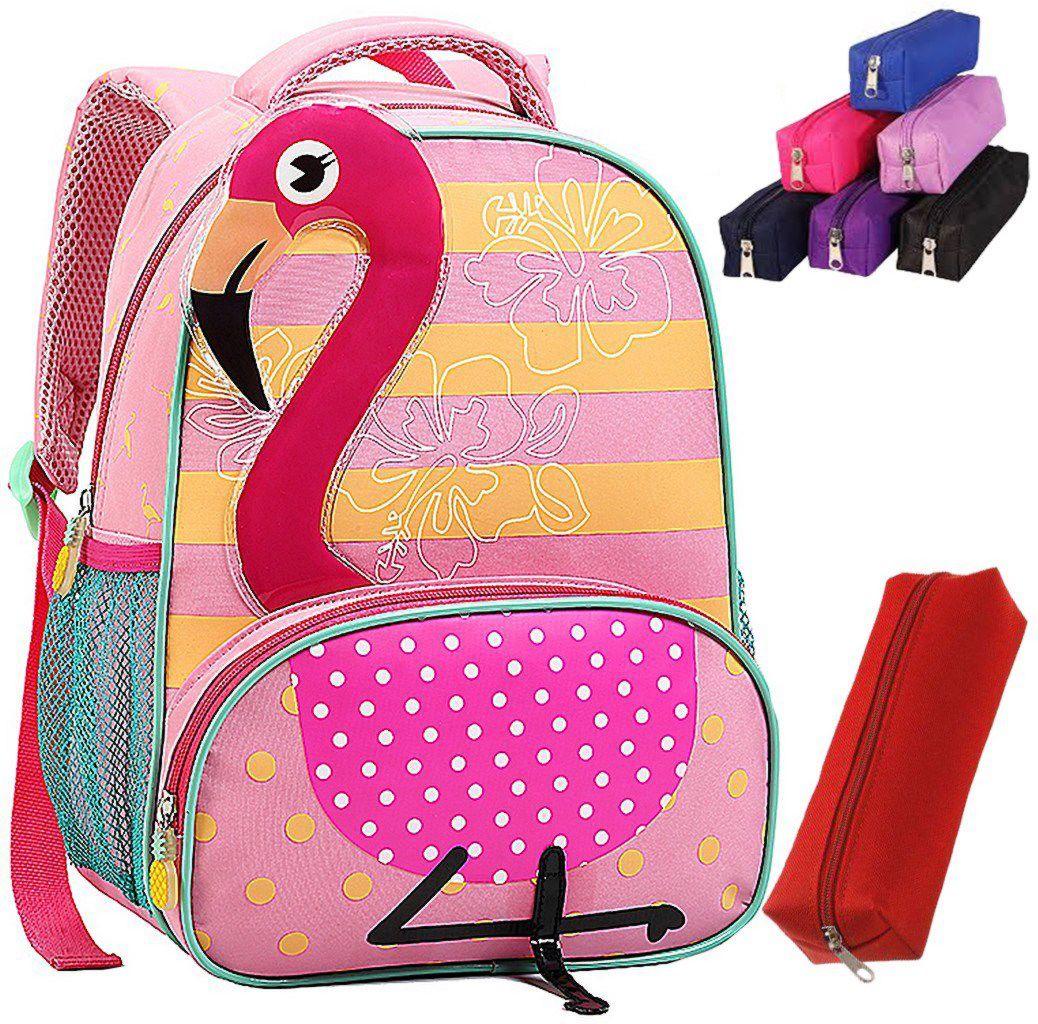 Mochila Escolar Seanite Infantil Original Estojo Resistente Flamingo Cacto Ovelha