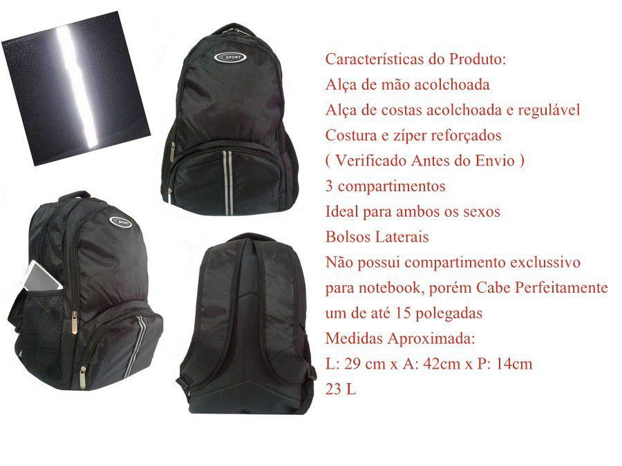 Mochila Esportiva Escolar Faixa Refletora 23 L