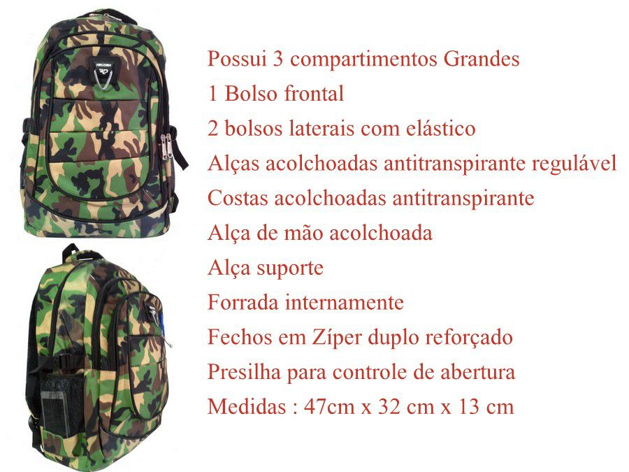 Mochila Estampada Exército Grande Resistente 20l
