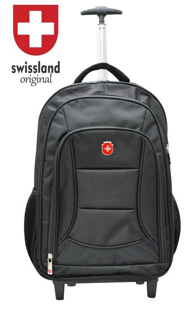 Mochila Executiva Impermeável Notebook Com Rodinhas Poliester Carrinho Escolar Swissland Yins