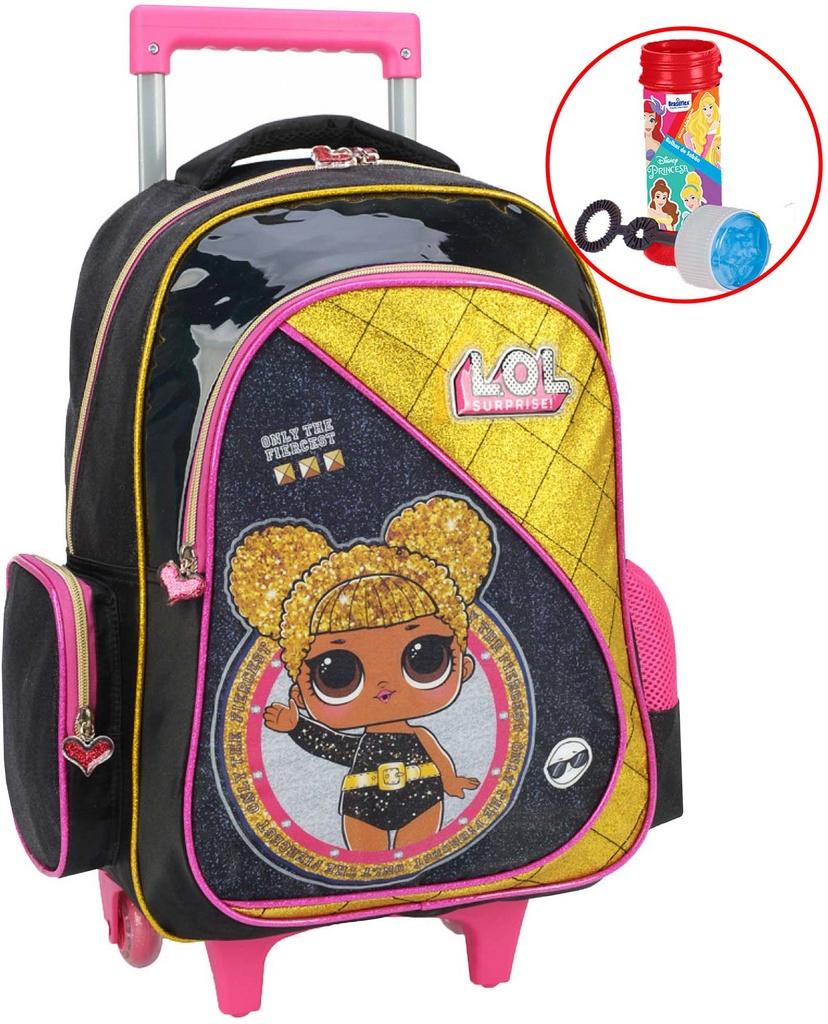 Mochila Feminina Infantil Bolsa Escolar Rodinha Lol Impermeável Grande Menina Glitter Resistente Bolhas De Sabão Lançamento Luxcel