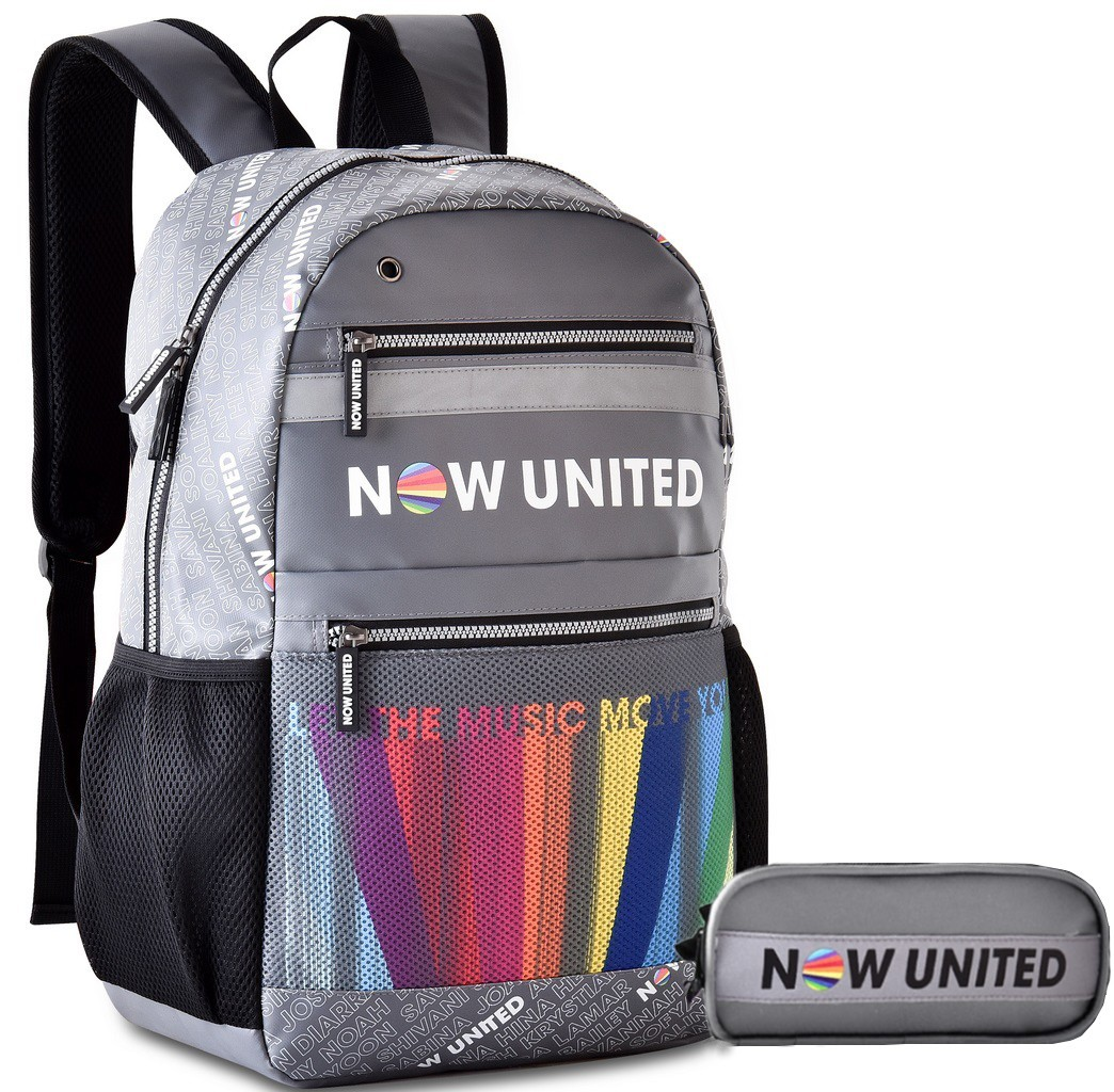 Mochila Feminina Masculina Escolar Do Now United Kit Conjunto Juvenil  Notebook 15' Estojo Duplo Impermeável Costa Clio