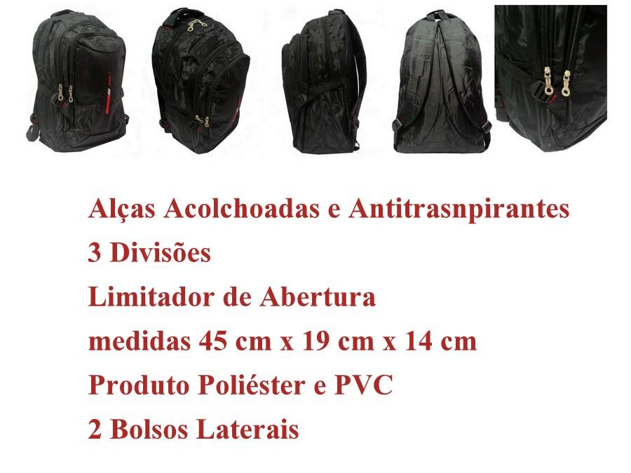 Mochila Grande Esportiva Escolar Faculdade Preta 15 L