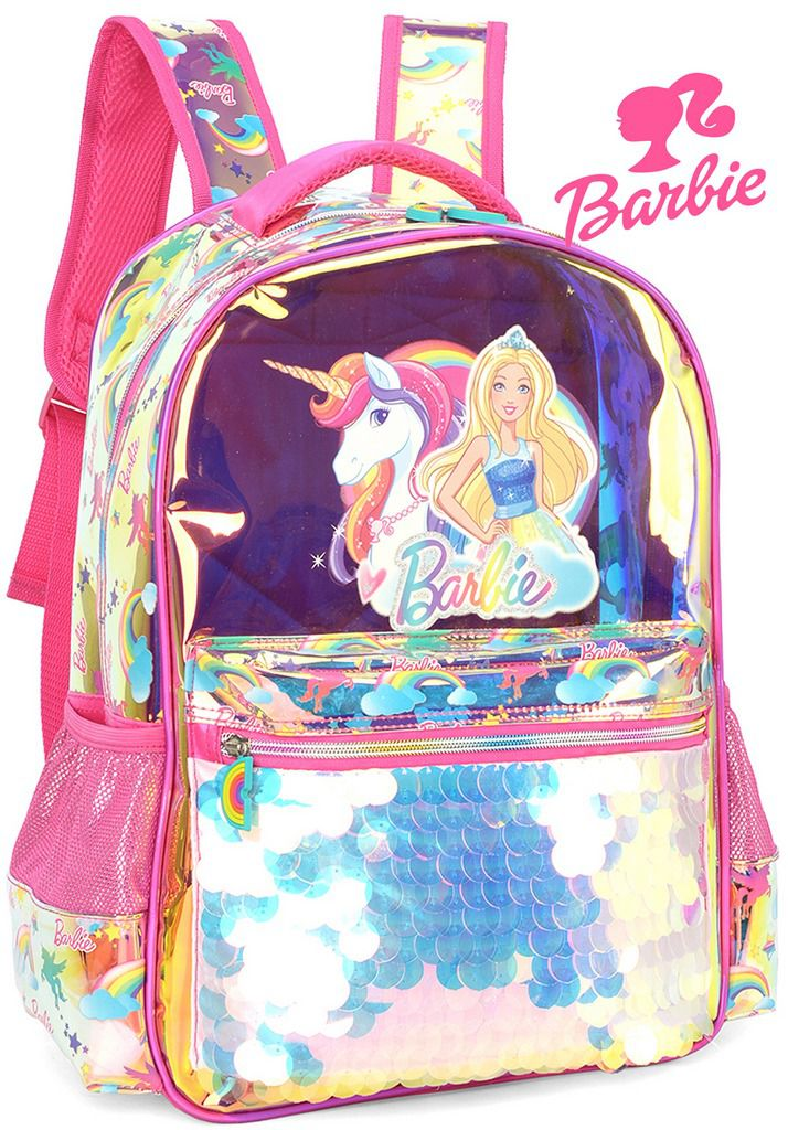 Mochila Infantil Escolar Barbie Unicórnio Menina Holográfica Paetê Lantejoulas Metálica Grande Alça De Costas Resistente Luxcel