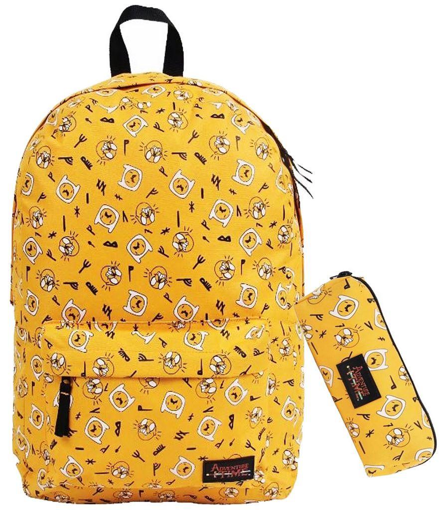Mochila Infantil Impermeável Escolar Hora Da Aventura Amarelo G +  Estojo Personalizado