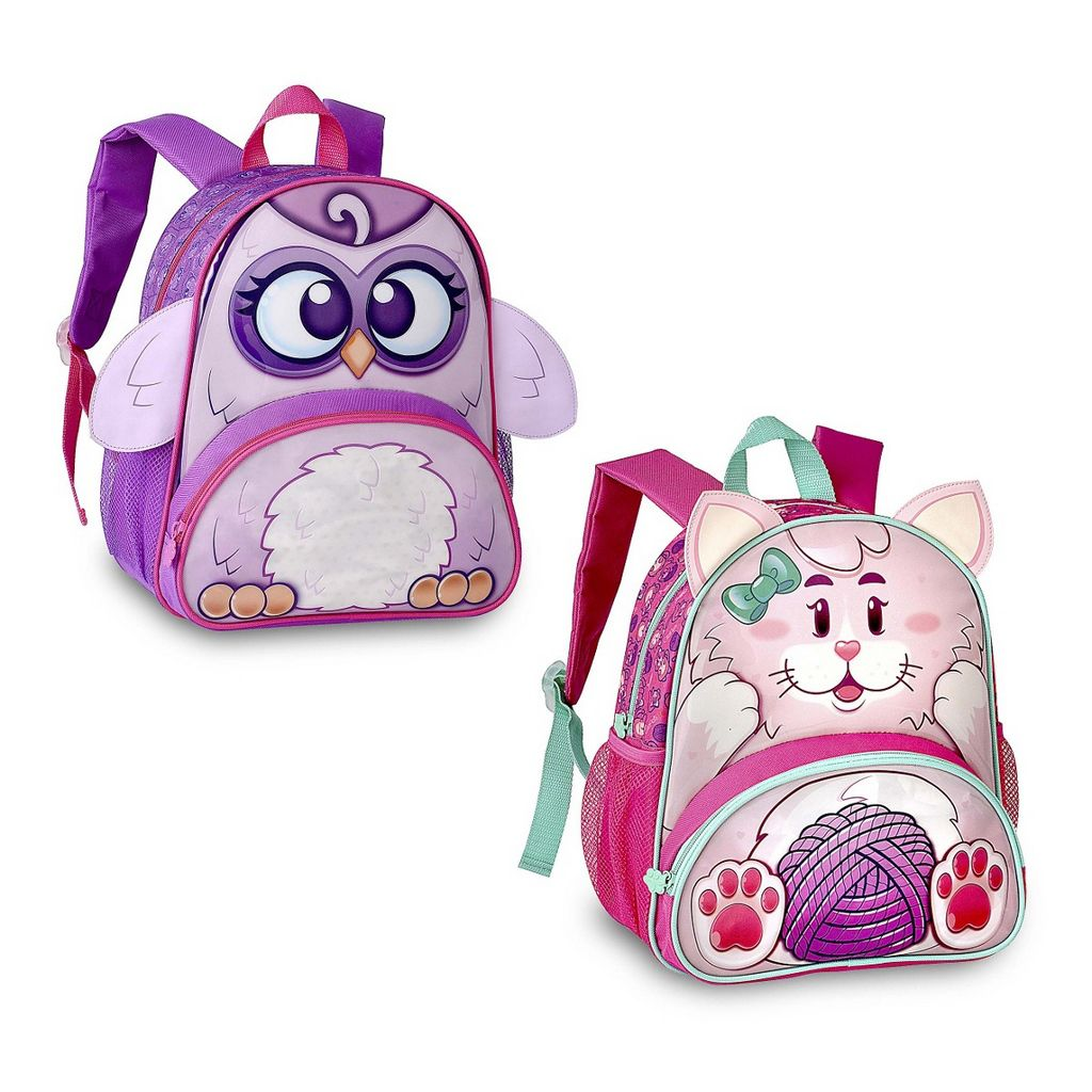 Mochila Escolar Infantil Pequena Alça Costas Impermeável Clio Pets Menina Rosa Roxo Gatinho Coruja Clio
