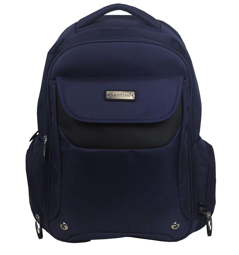 Mochila Juvenil Notebook Tablet Escolar Executiva Impermeável Azul Santino
