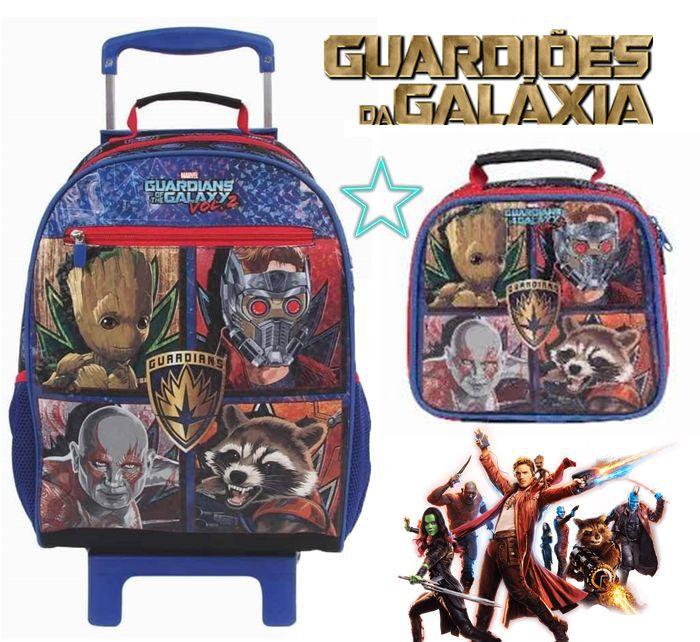 Kit Mochila Menino Guardiões da Galáxia Marvel Estampada Temática Escolar Azul de Rodinha