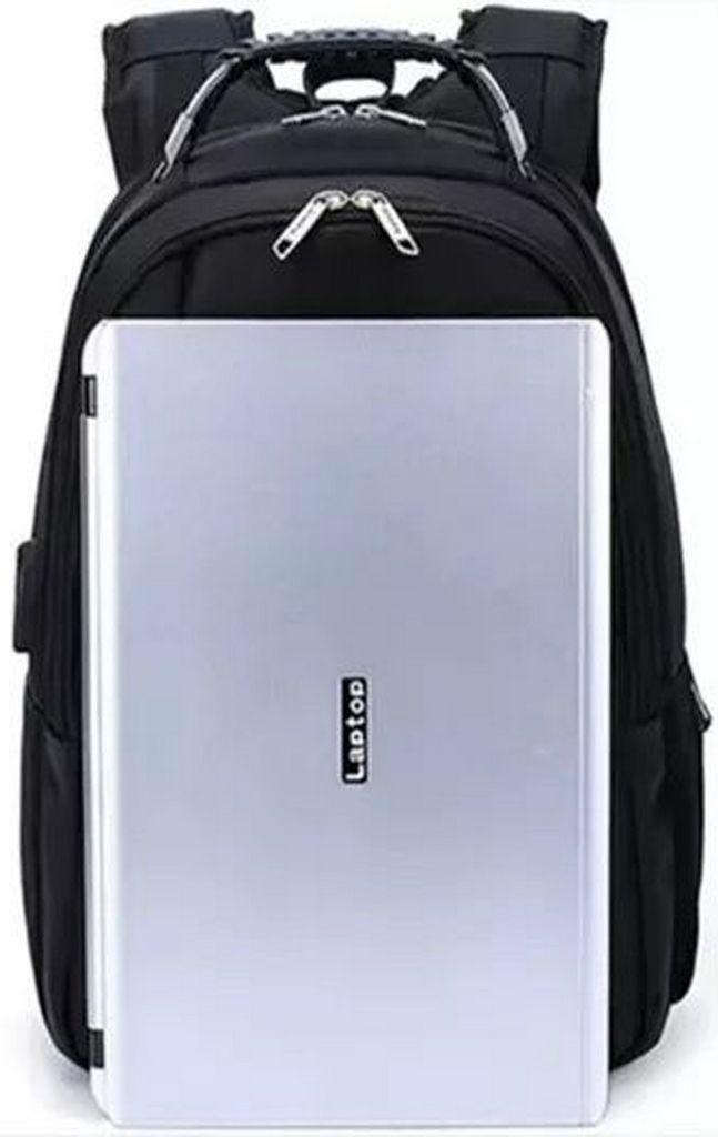 860f7af91 ... Mochila Notebook Masculina Preta Impermeável Resistente Com Usb ...