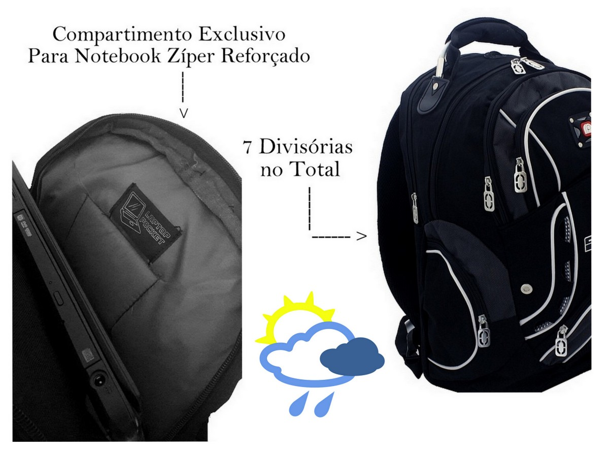Kit Mochila Preta Cabo de Aço Masculina 22L + Capa de Chuva Para Mochilas