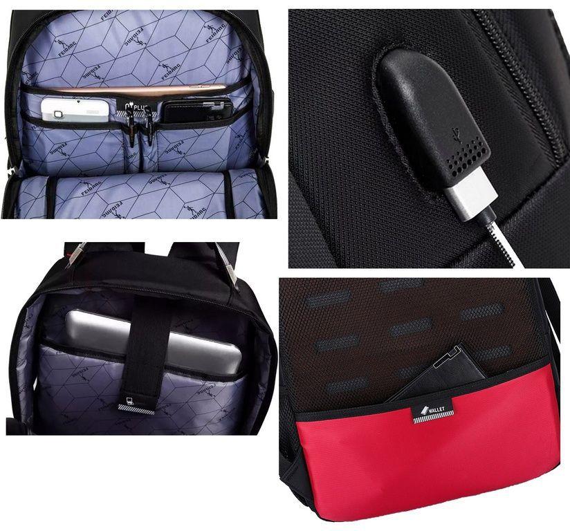 Mochila Saída USB Notebook Masculina Preta Impermeável Resistente