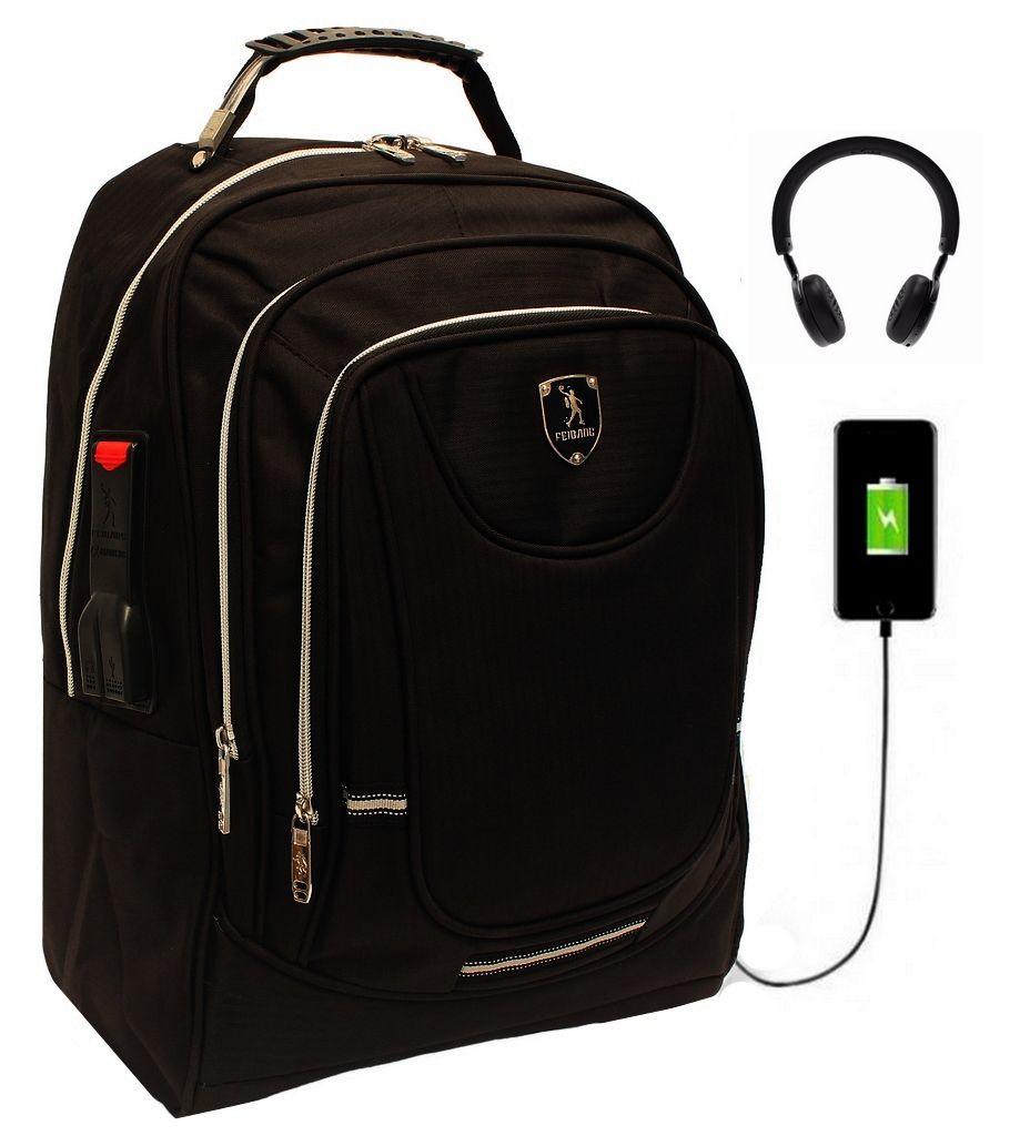 Mochila Social Executiva USB Fone Preta Impermeável Notebook
