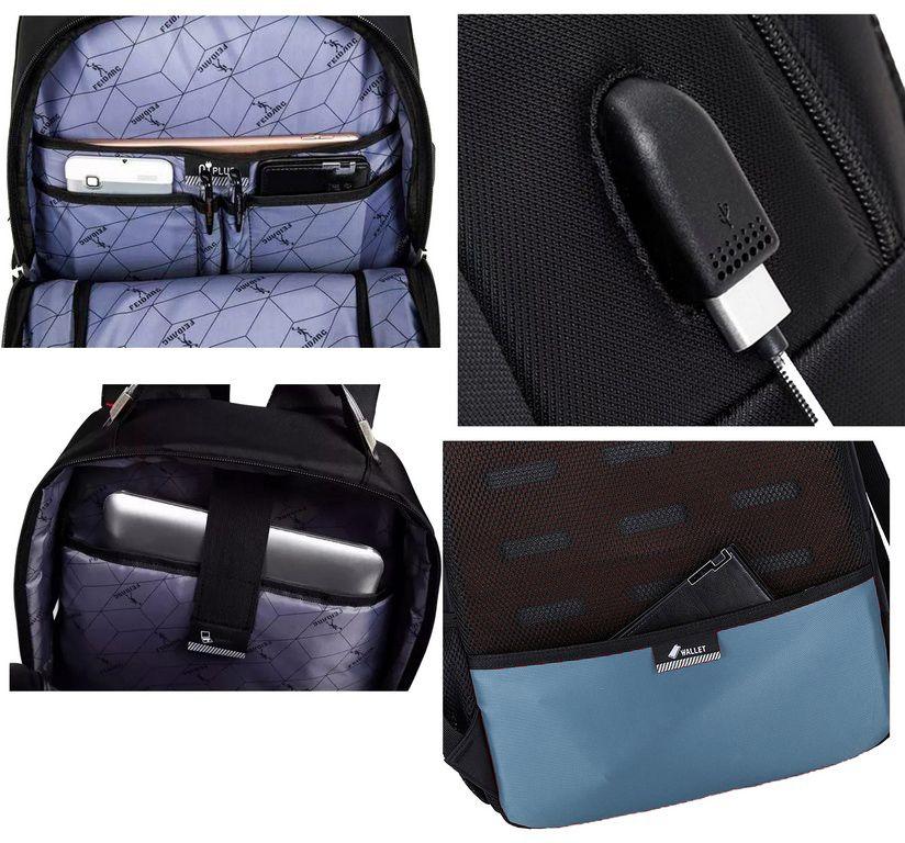 Mochila Social Executiva USB Fone Preta Impermeável Notebook Cabo de Aço