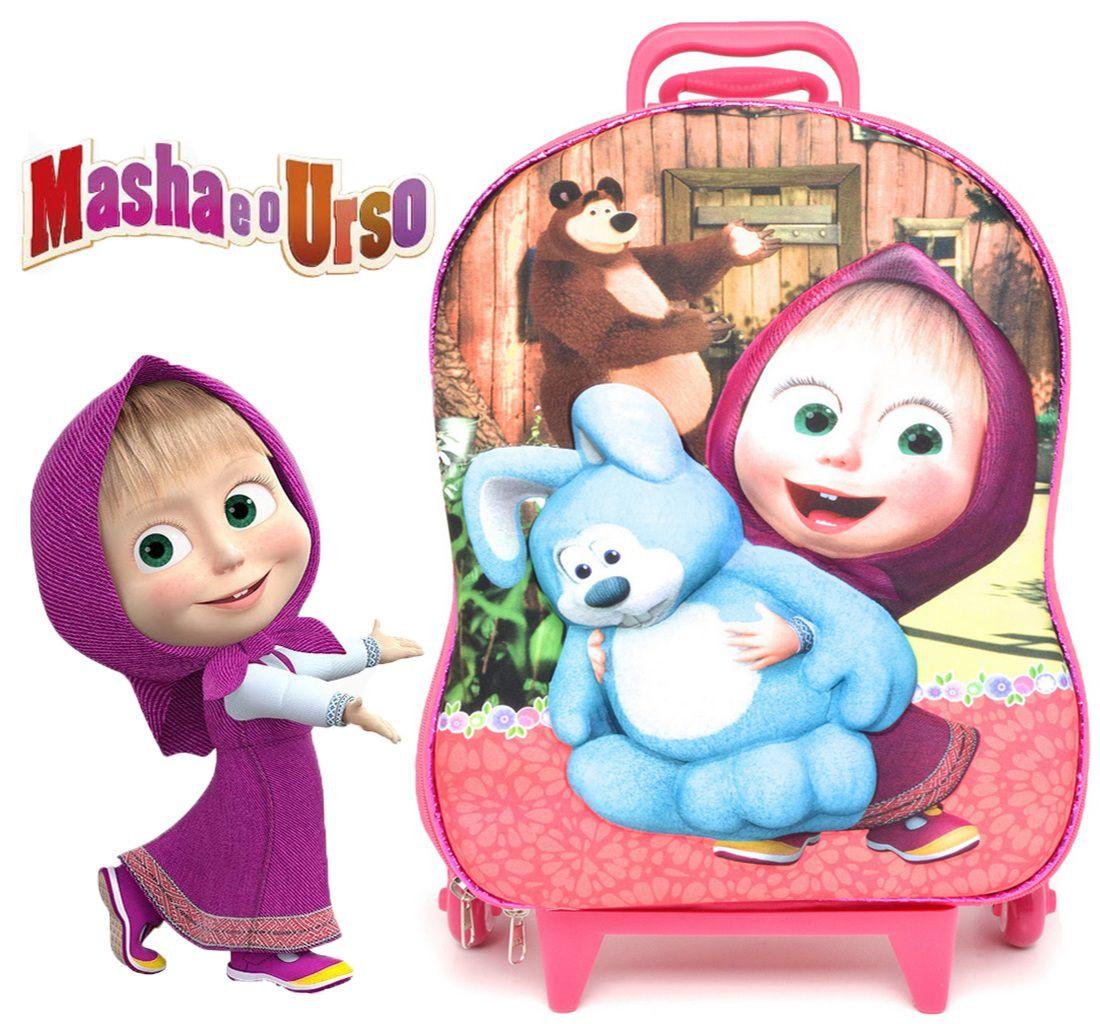 Mochila Infantil Escolar Carrinho 3 Rodinhas Rosa Masha Menina EVA E Poliéster