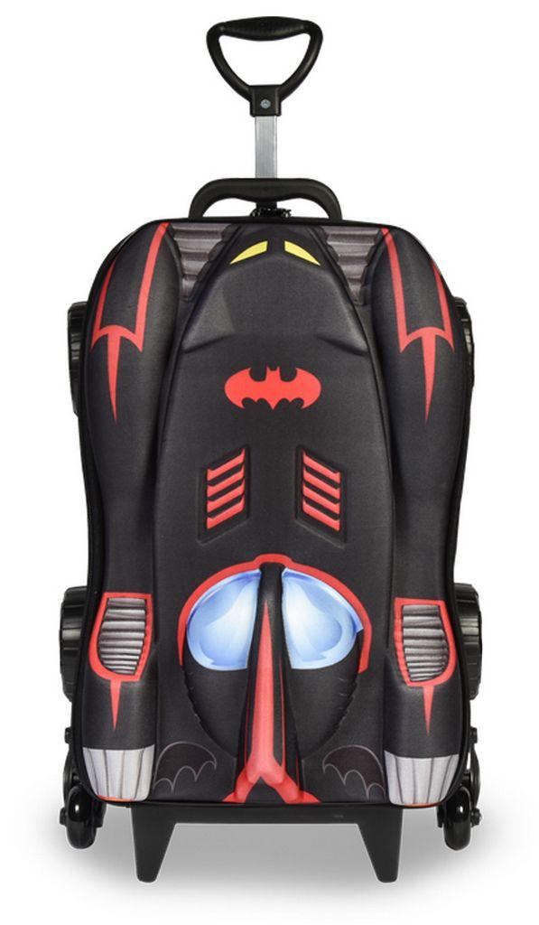 Mochila Escolar Batman Carrinho 3 Rodinhas Meninos MAXTOY