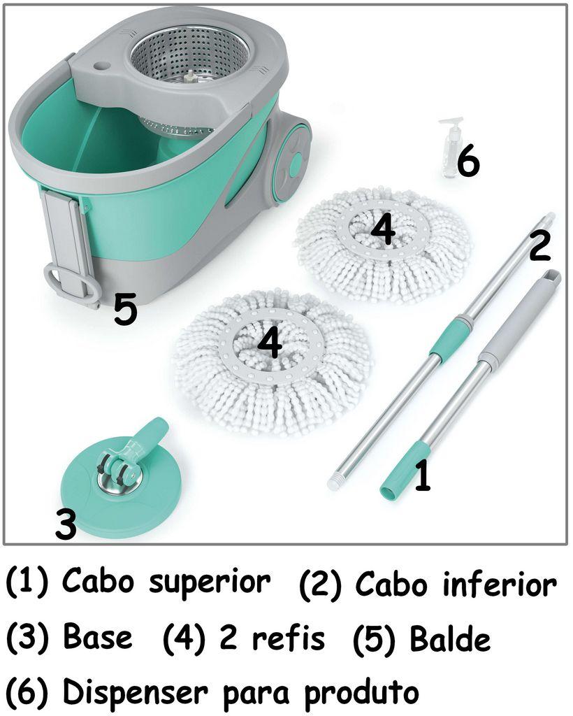 Mop Giratório Ciclone 360° Balde Esfregão 1,28m Aço Inox 20 Litros Rodinhas 2 Refis Microfibra Puxador Flexível Dispenser Limpeza Multiuso Flashlimp